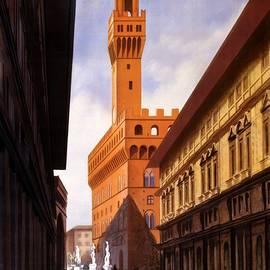 Studio Grafiikka - Firenze, Italy - Palazzo Vecchio Tower - Retro travel Poster - Vintage Poster