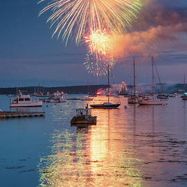Fireworks At Boothbay Harbor by Darylann Leonard Photography