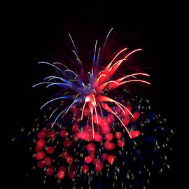 Janet Chung - Fireworks - Blue and Red