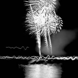 Fireworks In Black And White by Kay Brewer