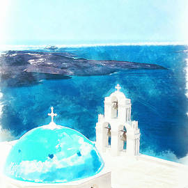 Antony McAulay - Firostefani church digital watercolor painting