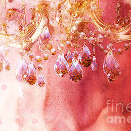 First Blush watercolor gold glitter crystals chandelier by Tina Lavoie