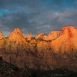Expressive Landscapes Fine Art Photography by Thom - First light on The Towers - Zion N.P.