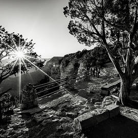 First light over Yavapai black and white by Eduard Moldoveanu