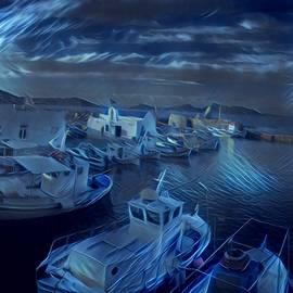 Colette V Hera Guggenheim - Fish harbour Paros Island Greece