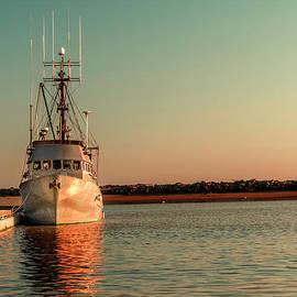 Fishing boat at sunset by Viktor Birkus