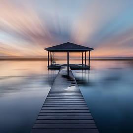 Fishing Dock before Dawn Dreamscape by Debra and Dave Vanderlaan