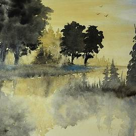 David K Myers - Fishing Watercolor