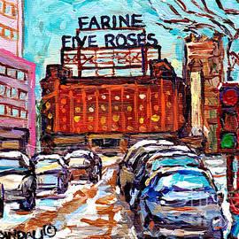 Five Roses Sign Montreal Landmark Marquee Street Hockey Painting Canadian Artist Carole Spandau      by Carole Spandau