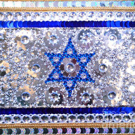 Sofia Metal Queen - Flag of Israel. Bead embroidery with crystals