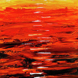 Flaming Sunset Abstract 205173 by Mas Art Studio