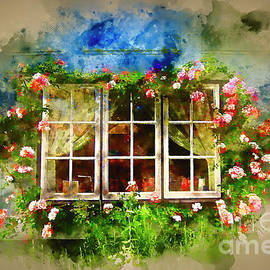 Floral Cottage Window by Jack Torcello