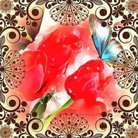 Catherine Lott - Floral Framed Butterfly