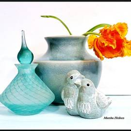 Floral Lovebirds Still Life by Marsha Heiken