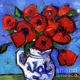 Mona Edulesco - Floral Miniature - Abstract 0515 - Red Poppies