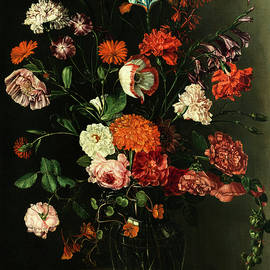 Peter van Kessel - FLORAL STILL LIFE IN A NICHE WITH STAG BEETLE