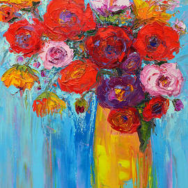 Patricia Awapara - Wild Roses and Peonies, Original Impressionist Oil Painting