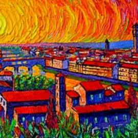 Ana Maria Edulescu - FLORENCE PANORAMA AT SUNSET impressionist knife oil painting Italy abstract city Ana Maria Edulescu