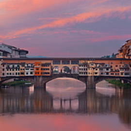 Florence Ponte Vecchio Panorama Sunrise Reflection by Songquan Deng