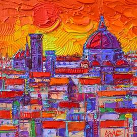 Ana Maria Edulescu - FLORENCE SUNSET OVER DUOMO abstract cityscape impasto palette knife oil painting Ana Maria Edulescu