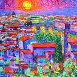 FLORENCE SUNSET OVER PONTE VECCHIO abstract city impressionism knife oil painting Ana Maria Edulescu by Ana Maria Edulescu