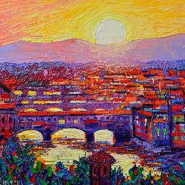 Florence Sunset Over Ponte Vecchio Abstract Impressionist Knife Oil Painting By Ana Maria Edulescu