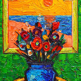 Ana Maria Edulescu - Flowers At Window By The Sea Modern Impressionist Palette Knife Oil Painting By Ana Maria Edulescu