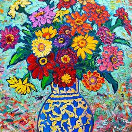 Ana Maria Edulescu - Flowers - Colorful Zinnias Bouquet