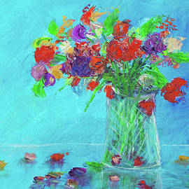 Ken Figurski - Flowers In A Vase Painting Red