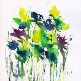 Frank Bright - Flowers In Grass Abstract