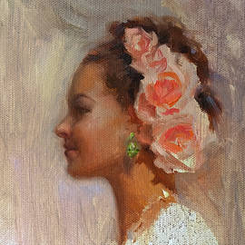 Karen Whitworth - Pretty Flowers - Impressionistic Portrait of Young Woman