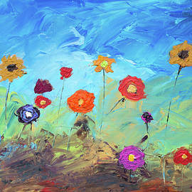 Ken Figurski - Flowers In The Meadow Modern Impressionistic Painting