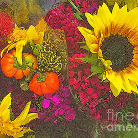 Flowers Of Fall - Sunflower And Baby Pumpkins - cropped by Miriam Danar