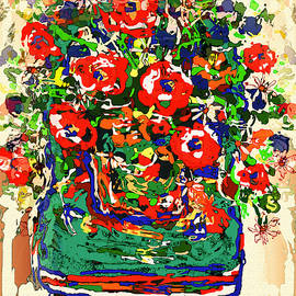 Natalie Holland - Flowers On Green Chair