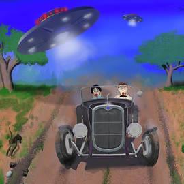 Flying Saucers Attack Teenage Hot Rodders by Ken Morris