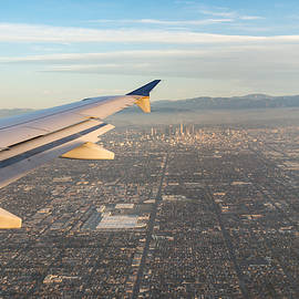Flying to L A - Southern California Sprawling Metropolis from a Plane
