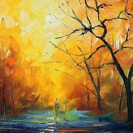 Fog - PALETTE KNIFE Oil Painting On Canvas By Leonid Afremov by Leonid Afremov