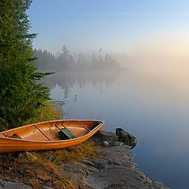 Foggy Morning On Spice Lake by Larry Ricker