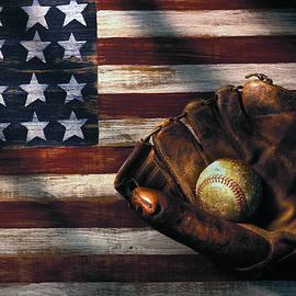 Folk art American flag and baseball mitt by Garry Gay