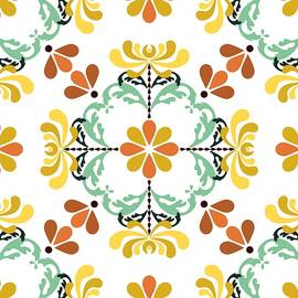 Folk Art Inspired Chrysanthemums Yellow And Orange by MM Anderson