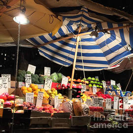 Miriam Danar - Food City - Night Market with Umbrella Fruits and Vegetables
