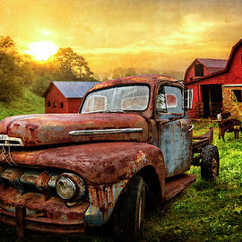 Ford in the Farm Pastures Textured by Debra and Dave Vanderlaan