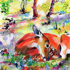 Forest Life Doe and Fawn Watercolor by Ginette Callaway