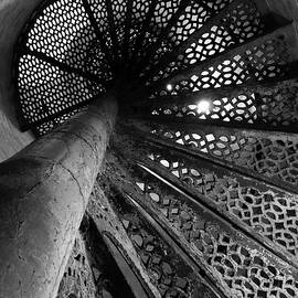 Fort Gratiot Lighthouse Staircase B W by David T Wilkinson