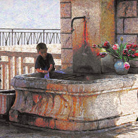 Dominique Amendola - Fountain in La tourrette, Provence Van Gogh Style