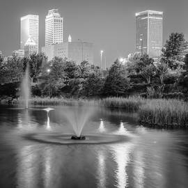 Gregory Ballos - Fountains Under the Tulsa Skyline - Black and White