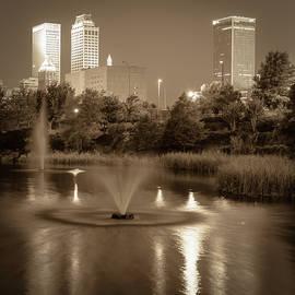 Gregory Ballos - Fountains Under the Tulsa Skyline - Sepia