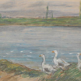 Four Geese By A Pond by Alfred Sisley
