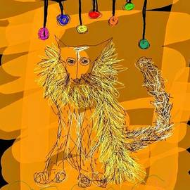 Kathy Barney - Fox with a Yellow Boa Under Neon Lights