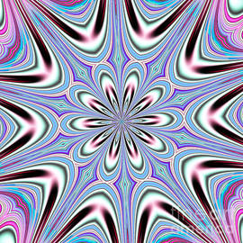 Fractalscope Flower 3 In Pink Blue Green And White by Rose Santuci-Sofranko